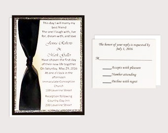 Black & White Wedding Invitations with Shimmer Cardstock