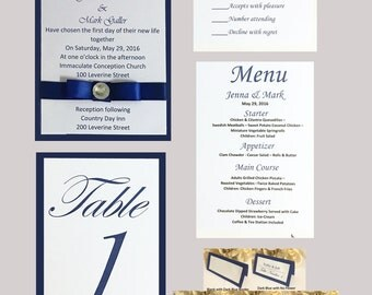 Royal Blue Wedding Invitation Set With Rhinestone