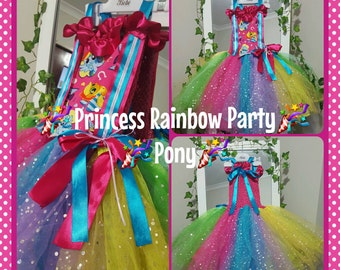 Princess Rainbow Party Pony Tutu Dress