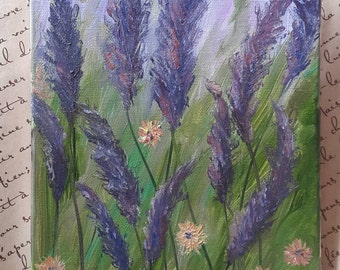 Lavender field, oil painting, Small Lavender Oil Painting,Painting Oil Living room,Woman's gift