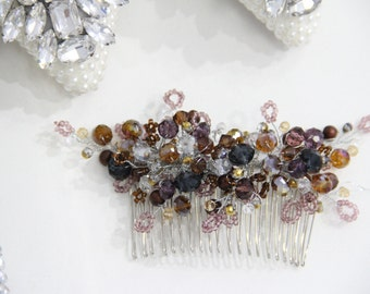 Wedding Hair Comb, Purple Hair Comb, Pearl Hair Accessories, Pearl and Crystal Comb, Bridal Hairpiece