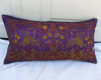 Silk Embroidered Chinoiserie Lilac Boudoir Pillow