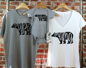 Mama Bear Shirt. Papa Bear Shirt. Baby Bear Shirt. Bear Family Shirt Set. Family Shirts. Mama Bear. Bear Shirts. Pregnancy Reveal