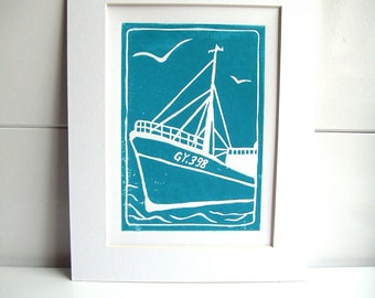 Ross Tiger in Turquoise, hand printed lino print b6