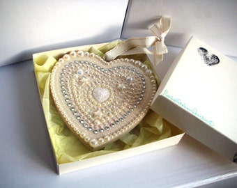 Cream & White Sparkly Hanging Heart, hand painted and embellished