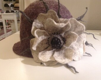 Hand felted cloche hat with poppies. size fits 56-58
