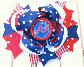 Atlanta Braves bow, Atlanta Braves hair clip, Atlanta Braves outfit, Atlanta Braves shirt, Atlanta Braves Fan, Atlanta Braves hair bow