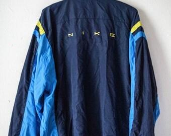VINTAGE Nike Navy Blue Zipper Jacket - size XL