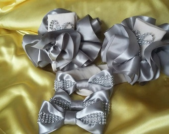 Designer RUFFLE Sock set includes 2 hairbows.