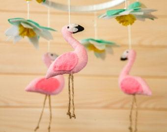 Flamingo Baby Shower Gift Baby Girl Nursery Decor Baby Mobile Crib Mobile New Baby Gift Nursery Mobile Baby Girl Gift Baby Mobiles Hanging