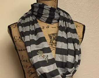 Scarf-Black and grey/Black and white/Rock logo scarf.