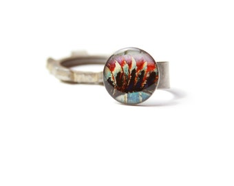 silver metal wearable art ring