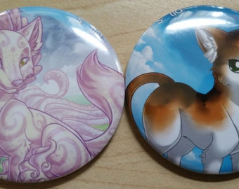Solia Online Kogo pair Majig a ma Angry Kitty and Vixen Fox Cat button Badge Pin Kitten Kitsune