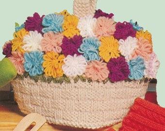 Vintage Knit Flower Basket Tea Cozy Pattern