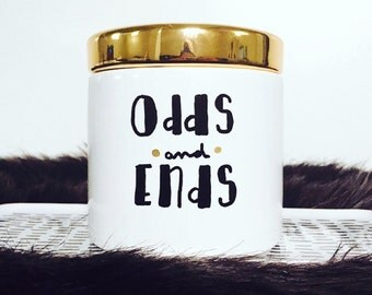 Odds and Ends Canister, Decorative Storage, Makeup Brush Holder, Customizable, Bits and Bobs, Gifts under 20