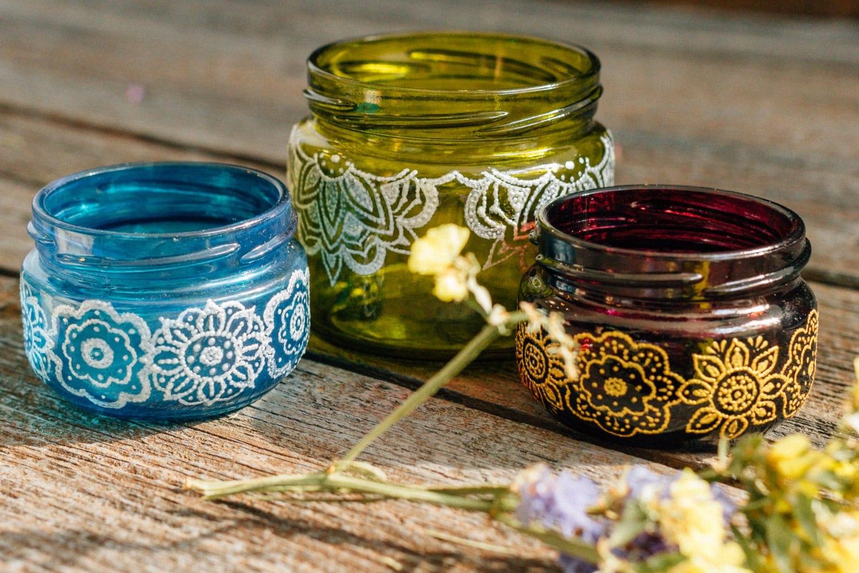 Candle lantern SET of 3 glass jar wholesale henna candle