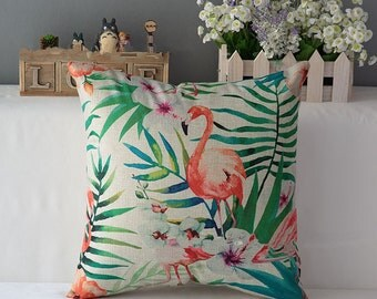 Housse de coussin toile de lin et coton beige | Décoration d'intérieur | Salon et Chambre |  Design Scandinave | Flamant rose & jungle