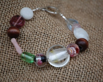Boho Wood & Lampworked Glass Bead Bracelet
