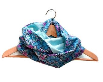 Reversible vintage blue reversible flower scarf