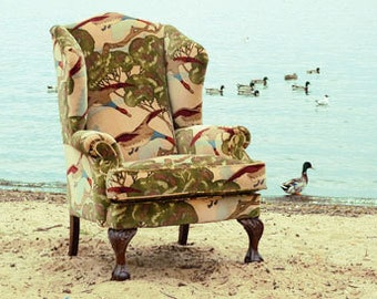 Queen Anne Wing Back Chair in Flying Duck Fabric