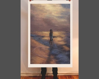 Sunset, fine art print, painting, giclee, portrait, oil painting, figurative art, beach, landscape, decor, interior design, romantique paint