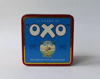OXO Diamond Jubilee 75 Years Celebration tin. 1910 to 1985 OXO vintage tin.
