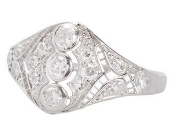 Art Deco Platinum & White Gold Ring Diamond Circa 1930's