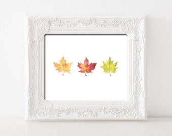 Watercolor Fall Leaves Printable Wall Art Fall Print Fall Leaf Print Red Yellow Orange Fall Colors Thanksgiving Decor Fall Maple Leaf Decor