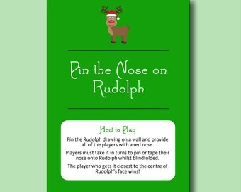 Pin the Nose on Rudolph Christmas Game - Fun Printable Christmas Party Game - Printable Christmas Games Childrens Pin the Tale on the Donkey
