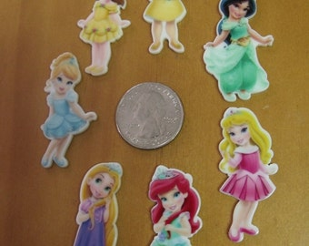Princess Resin Flatback for Hair Bow Centers, Scrapbooking, DIY Projects - Aurora, Ariel, Rapunzel, Cinderella, Belle, Jasmine, Snow White