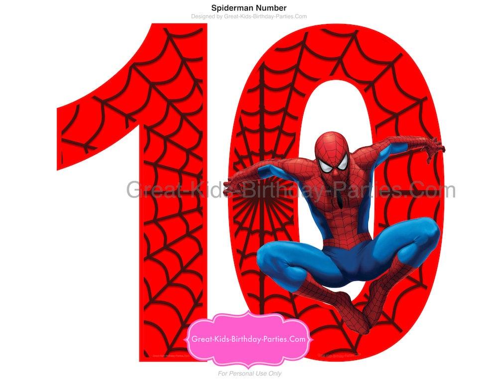 SPIDERMAN PRINTABLE NUMBER 10 Centerpiece-Instant Download