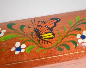 Vintage Wooden Pencil Box Butterfly and Flowers