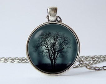 Tree jewelry Misty night Tree and fog Tree necklace Nature jewelry Tree pendant Wife gift Night pendant Gift for her Nature lover Mist Dark