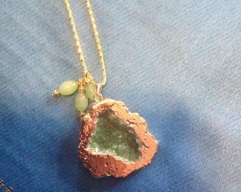 Druzy Geode Pendant with Jade