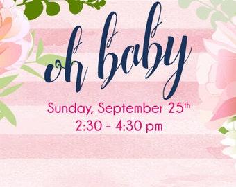 Custom Baby Shower Facebook Event Cover Image Digital Download