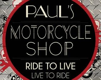 Custom Motorcycle Shop Sign Digital Download