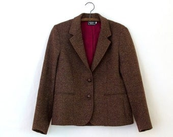 Bouquet Blazer — 1970s vintage maroon tweed twill blazer // Mikabe lined wool blazer jacket with leather buttons // small