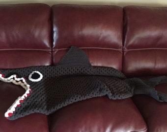 Crochet Shark Snuggle Blanket
