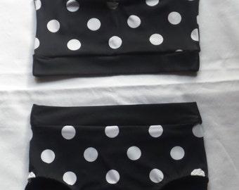 Black/white polka dot bathers size 8
