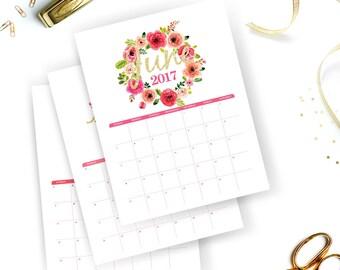 Printable Calendar 2017 | Floral Watercolor Calendar | Watercolor Wall Calendar | Instant Download