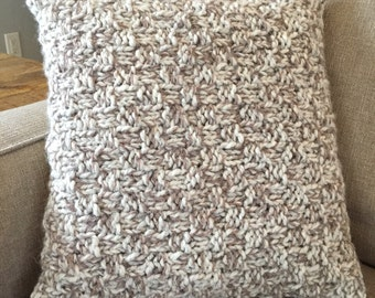 Hand knit 16x16 pillow with insert in cream and taupe INCLUDES PILLOW INSERT