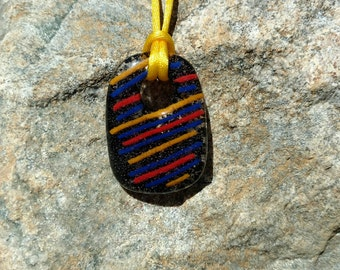 Fused Glass Pendant, Clear/Black with red and yellow accents, Handmade Necklace