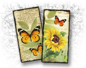 Butterflies 1 x 2 Inch Rectangular Images Digital Collage Sheet Download and Print - Printable Images - Domino 1 x 2