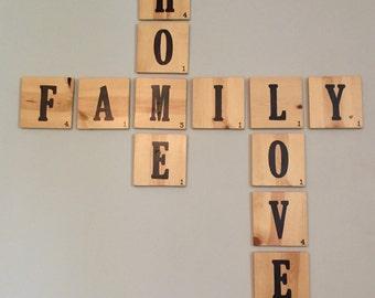 Wooden Scrabble Tile Blocks