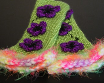 Crochet Fingerless Gloves Mittens Arm Warmers in Green with Flower Detailing Gift For her