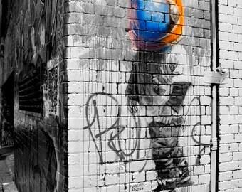 Colour Photograph, Street Art, Graffiti Art,Urban Photography, Hosier Lane, Melbourne Street Art, Photographic Print