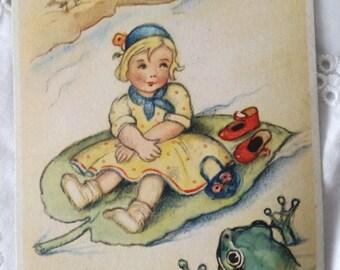 Postcard girl on Lily pad