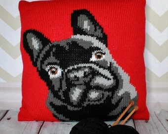 Knitting Pattern PDF Download - Frenchie/French Bulldog Pet Portrait Pillow Cushion Cover