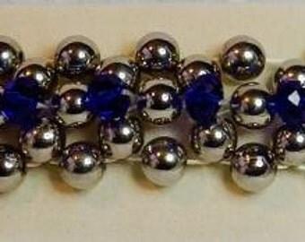 Royal Blue Crystal and Silver Colour Bead Bracelet