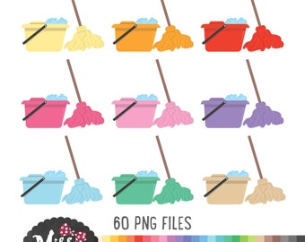 30 Colors Cleaning Mop & Bucket Clipart - Instant Download